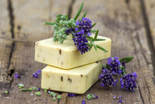 Bars Of Natural Soap And Lavender Flowers