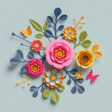 3d Render, Craft Paper Flowers...