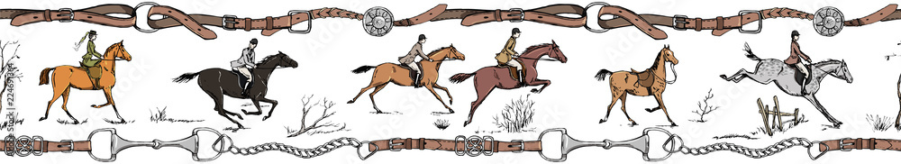 Fototapeta Equestrian sport horse rider english style. Galloping horsemen with saddle. Seamless, belt border or frame with bit, leather riding tack bridle tool. England tradition. Hand drawing vector vintage art