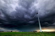 Dramatic Storm Sky And Wind Turbine