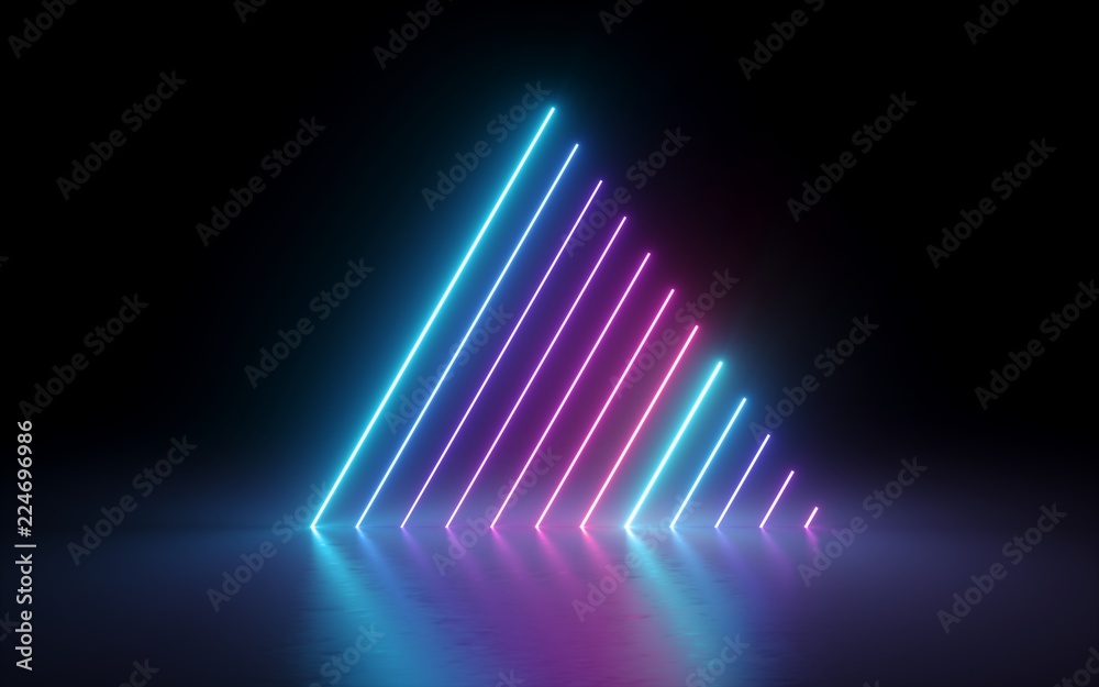 Fototapety, obrazy: 3d render, abstract minimal background, glowing lines, triangle shape, pink blue neon lights, ultraviolet spectrum, laser show