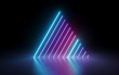 Leinwanddruck Bild - 3d render, abstract minimal background, glowing lines, triangle shape, pink blue neon lights, ultraviolet spectrum, laser show