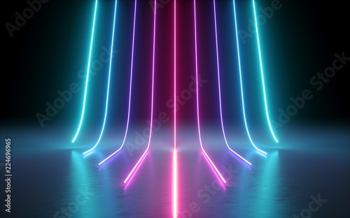Obraz na plátně 3d render, abstract minimal background, glowing lines, cyber, chart, pink blue n