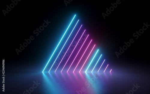Leinwanddruck Bild - wacomka : 3d render, abstract minimal background, glowing lines, triangle shape, pink blue neon lights, ultraviolet spectrum, laser show