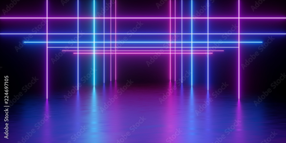 Fototapety, obrazy: 3d render, glowing lines, neon lights, abstract psychedelic background, corridor, tunnel, ultraviolet, spectrum vibrant colors, laser show