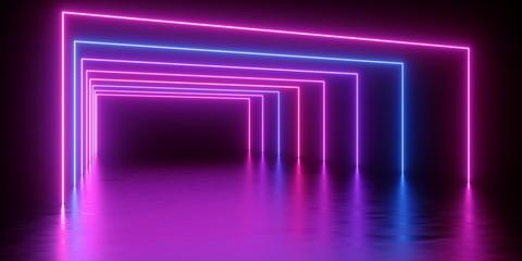 Renderowania 3D, abstrakcyjne minimalne tło, świecące linie tunelu, łuk, korytarz, różowe niebieskie neony, widmo ultrafioletowe, rzeczywistość wirtualna, pokaz laserowy