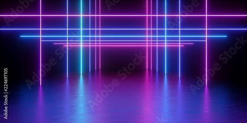 3d render, glowing lines, neon lights, abstract psychedelic background, corridor Tableau sur Toile