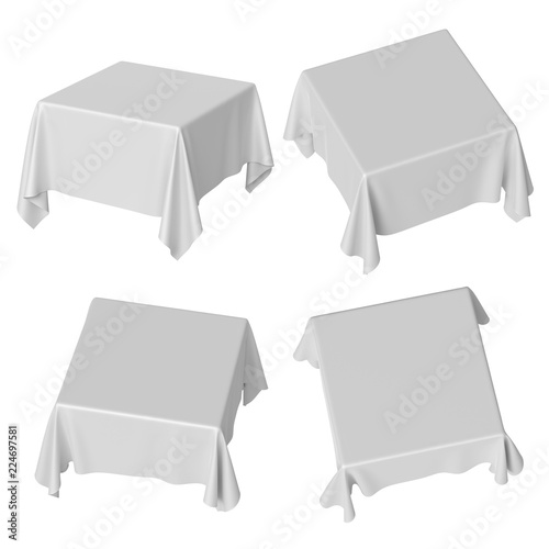 3d render, square table covered with white blank tablecloth ...