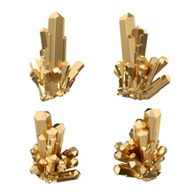 3d Render, Digital Illustration, Abstract Gold Crystals, Perspective View, Golden Nugget, Esoteric Design Element, Isolated On White Background