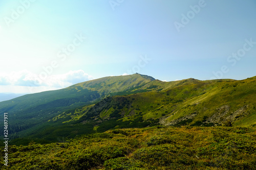 Spoed Foto op Canvas Blauwe hemel beautiful mountain landscape, Mount Pop Ivan Chernogorskiy, summer Carpathians