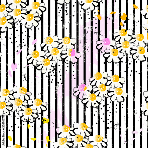 flower bloom seamless pattern background, with stripes, paint strokes and splashes,