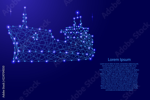 Valokuva  Ship dry cargo vessel from futuristic polygonal blue lines and glowing stars for banner, poster, greeting card