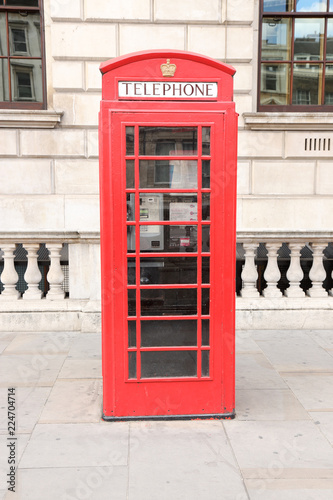 Fotografie, Obraz  Red phone booth in London