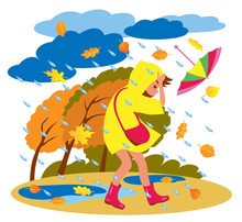 Girl In Raincoat Walking With Umbrella In Bad Weather. Autumn Rains And Storm. Cartoon Vector Illustration