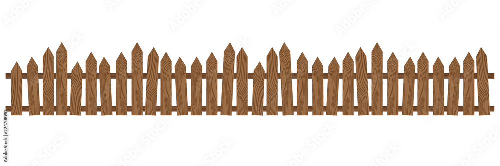 Fototapeta Beautiful brown wooden fence. Wooden fence isolated on white background.
