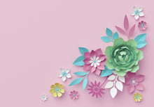 3d Render, Digital Illustration, Decorative Paper Flowers Isolated On Pink, Pastel Color Wallpaper, Corner Design Element, Clip Art, Greeting Card Template, Minimal Background, Space For Text