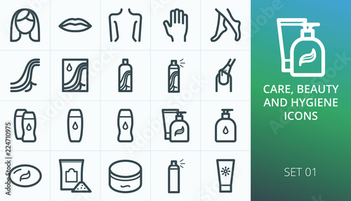 Fotografía  Hygiene and beauty care products set icons