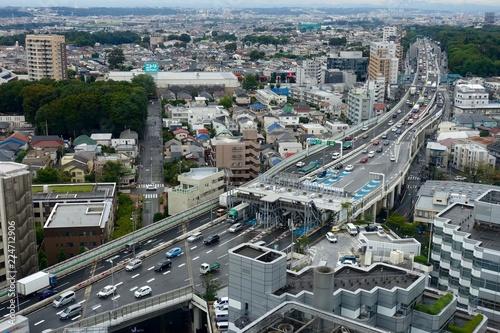 東京の高速道路、渋滞料金所〜用賀当たり