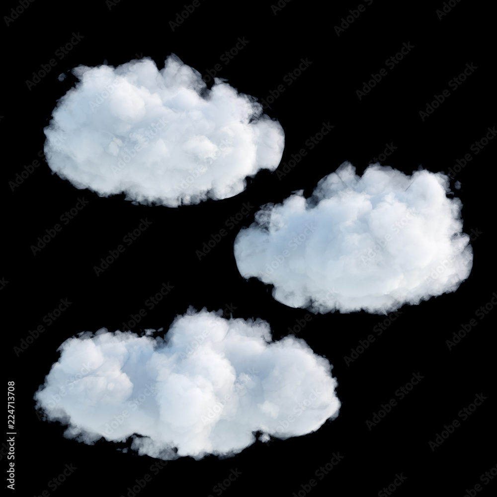 Fototapeta 3d render, digital illustration, realistic clouds isolated on black background