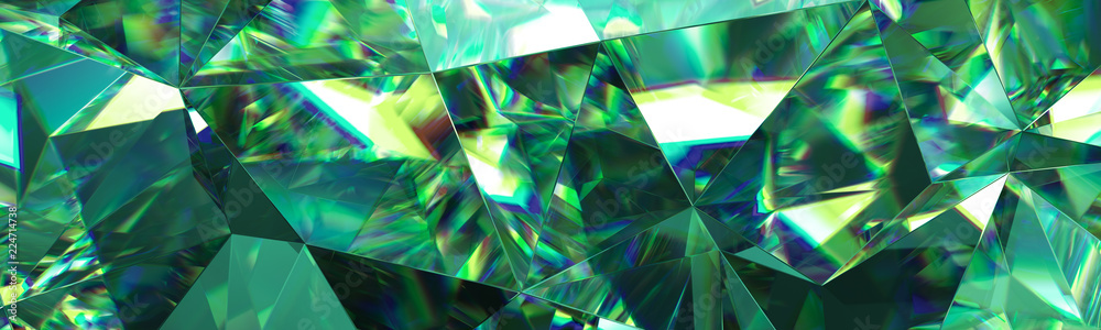 Fototapeta 3d render, abstract green crystal background, faceted texture, emerald gem macro, panorama, wide panoramic polygonal wallpaper