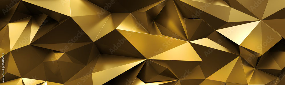 Fototapety, obrazy: 3d render, abstract gold crystal background, faceted texture, macro panorama, wide panoramic polygonal wallpaper
