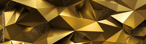 Obraz 3d render, abstract gold crystal background, faceted texture, macro panorama, wide panoramic polygonal wallpaper - fototapety do salonu
