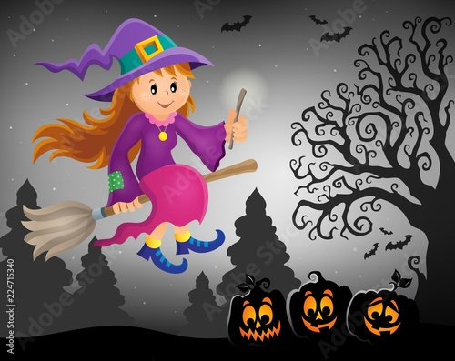 Poster Voor kinderen Cute witch theme image 7