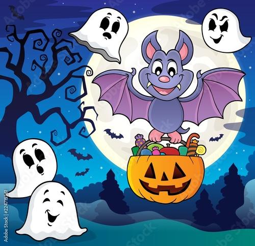 Fotobehang Voor kinderen Halloween bat theme image 8