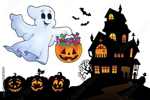 Fotobehang Voor kinderen Halloween ghost near haunted house 4