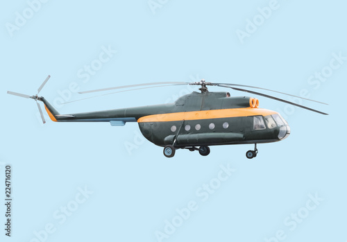 Tuinposter Helicopter Military helicopter mi-8 isolated on a white background