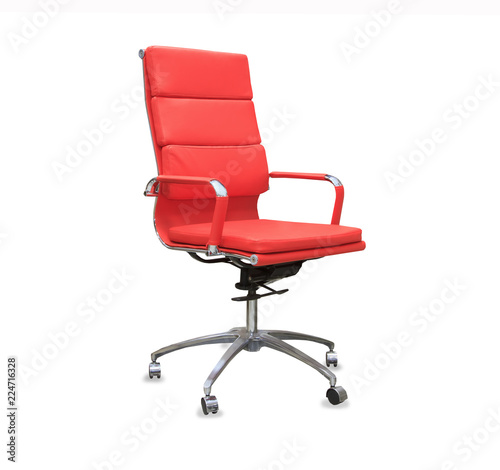 Modern office chair from red leather. Isolated Fototapeta