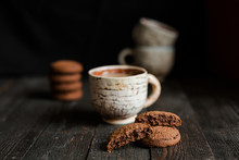 Morning,breakfast With Coffee And Oatmeal Cookies