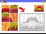 Fototapeta Dinusie - jigsaw puzzles with dinosaur animal character
