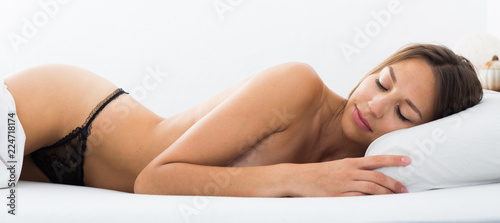 Poster Akt portrait naked woman sleeping