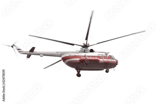 Helicopter with red fuselage isolated on white background