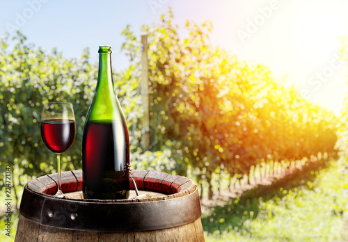 Glass of red wine and wine bottle on the oak keg. Vineyard in the evening sun at the background.