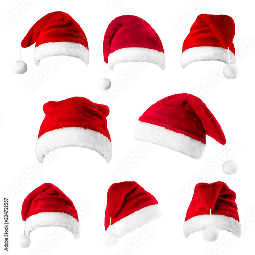 Set of red Santa Claus hats isolated on white background - Buy this ... 39404117e896