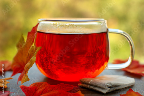Hot tea on the windowsill. A cup of hot tea, a maple leaf and a tea bag against the window. Autumn hot tea on the windowsill against the background of nature.