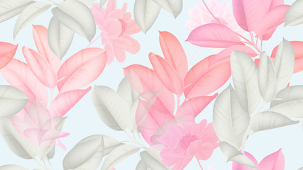 Floral seamless pattern, pink and white Ficus Elastica / rubber plant and pin...