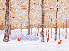 Vector Illustration Of A Winter Pine Forest With Climbing Squirrels And Bullfinches