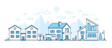Town Life - Modern Thin Line Design Style Vector Illustration