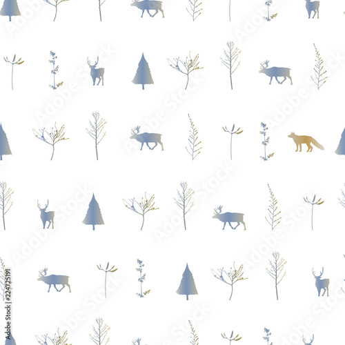 obraz lub plakat Vector illustration. Herringbones, trees,deers and fox silhouettes background. Vector seamless pattern. Fabric print element. Paper design.