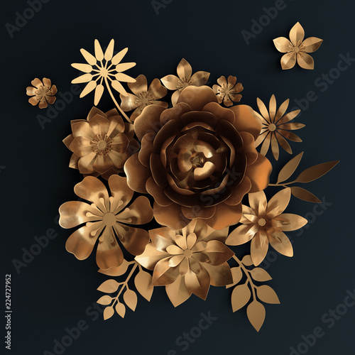 3d Render Gold Paper Flowers Rose Floral Bouquet Isolated On