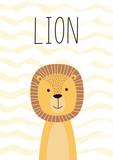 Fototapeta Fototapety na ścianę do pokoju dziecięcego - Cute lion. Poster, card for kids. Vector illustration.