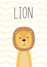 Cute Lion. Poster, Card For Kids. Vector Illustration.