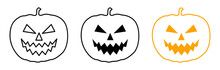Line-Icon-Set: Halloween Pumpkin / Vector
