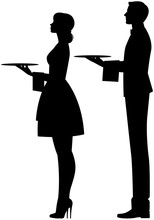 Silhouette Of A Waiter And A Waitress On A White Background In Profile With A Tray In Hand