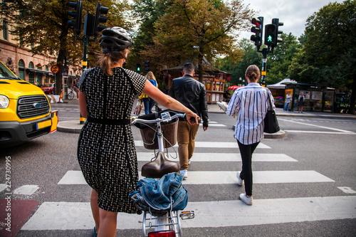 Fotografiet Stockholm,people  on the pedestrian crossing