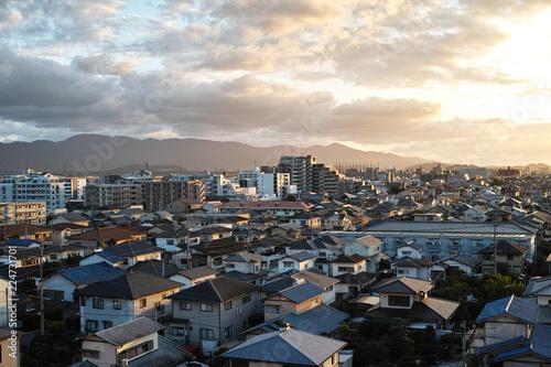 evening sky cityscape Fukuoka, Japan