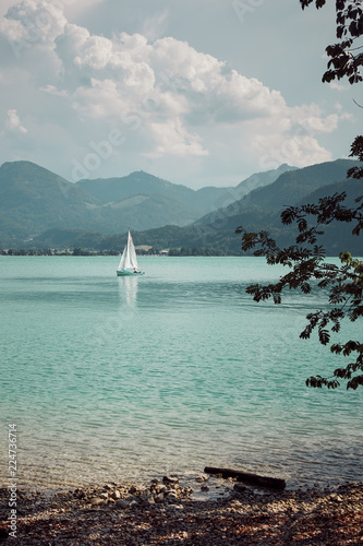 Picturesque lake between mountains